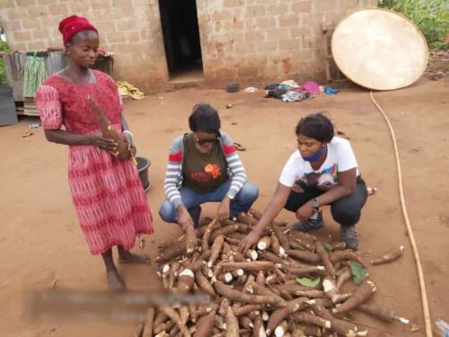 small holder farmer cassava peeling 2